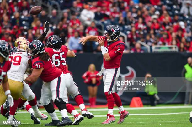 Houston Texans quarterback Tom Savage throws a pass during the football game between the San Francisco 49ers and the Houston Texans on December 10...