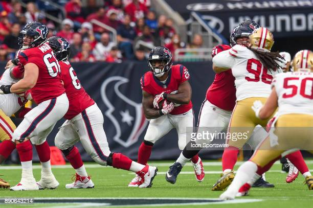 Houston Texans running back Lamar Miller runs the ball during the football game between the San Francisco 49ers and the Houston Texans on December 10...