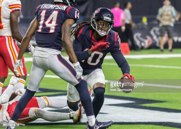 Houston Texans wide receiver DeAndre Hopkins scores a touchdown in the fourth quarter of the football game between the Kansas City Chiefs and Houston...