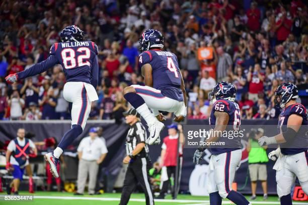Houston Texans wide receiver Wendall Williams and Houston Texans quarterback Deshaun Watson celebrate Watson's rushing touchdown during the NFL...