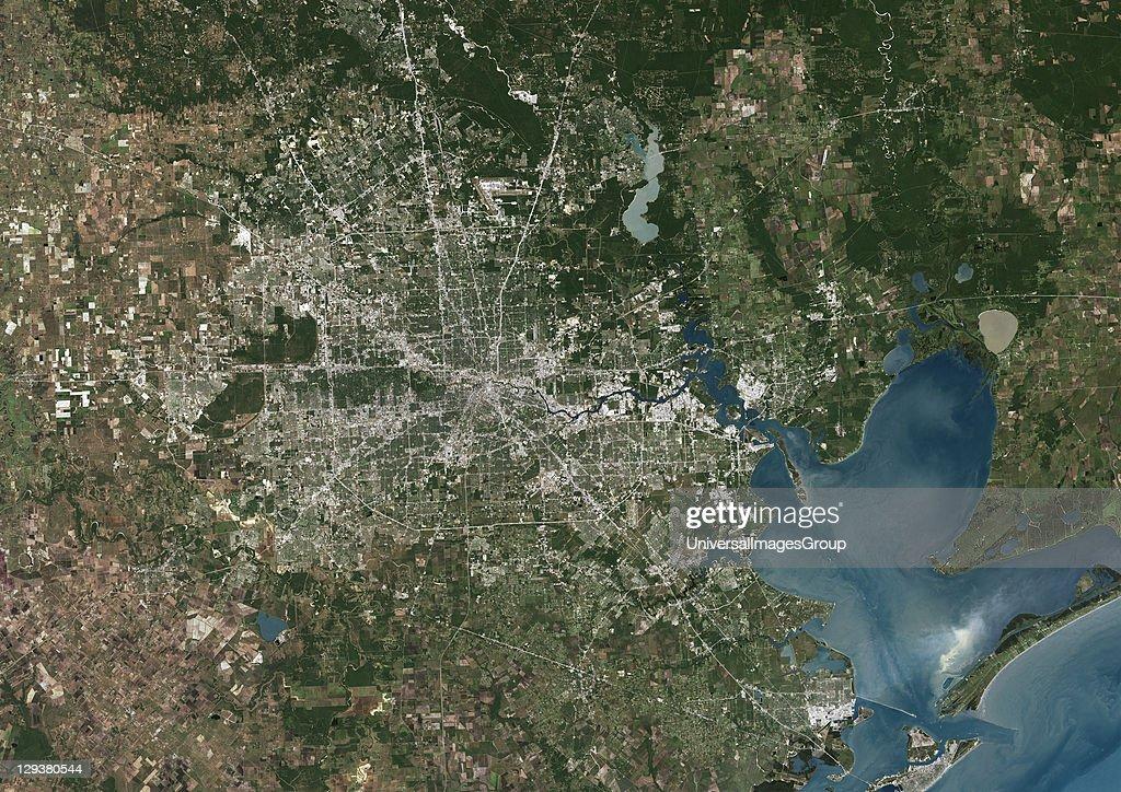 Houston Texas Usa True Colour Satellite Image Pictures Getty - Satellite map of usa