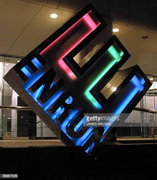 View of the Enron logo in front of the Houstonbased energy trading firm's headquarters 09 January 2002 The trial for Enron Corp's top two executives...