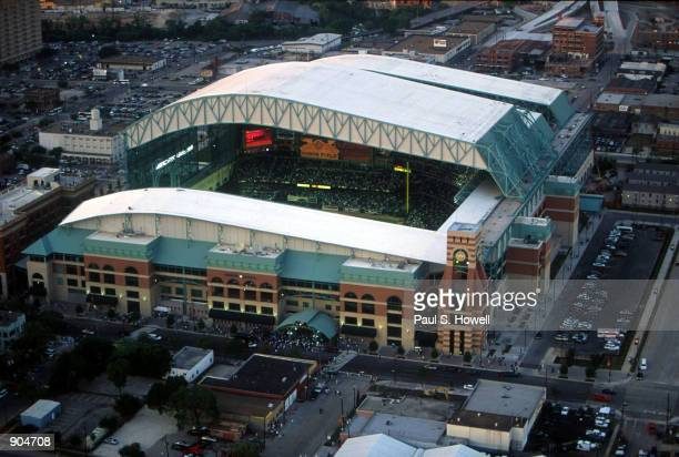 Houston's Enron Field christened by the Astros with an exhibition game against the New York Yankees opened its doors March 30 2000 in Houston Texas...