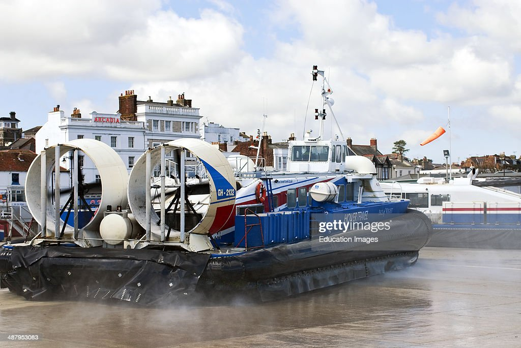 Hover travel Hovercraft Ferry leaving the harbor of Ryde on the Isle of Wight South England