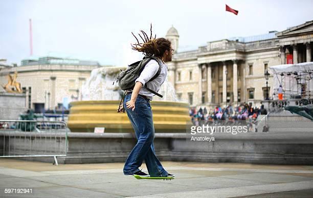 Hoverboarding through Trafalgar Square
