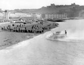 SRN1 hovercraft arriving at Dover 1959 SRN1 hovercraft arriving at Dover 1959 A crowd is gathered on the beach Dover Castle can be seen on a hill in...
