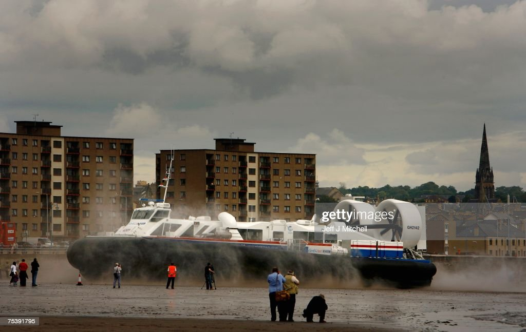 A hovercraft leaves Kirkcaldy in Fife on its way to Portobello in Edinburghas part of a commercial ferry trial by Stagecoach July13 2007 Kirkcaldy in...
