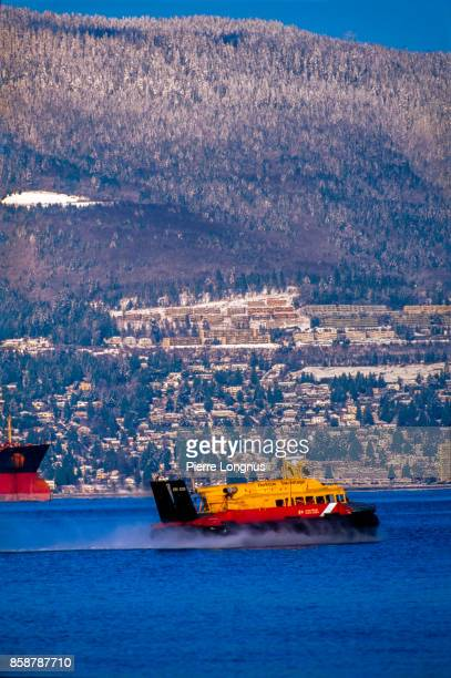 SR.N6 hovercraft of the Canadian Coast Guard cruising in Vancouver Harbor in winter, British Columbia, Canada