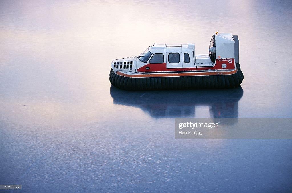 A hovercraft on ice.