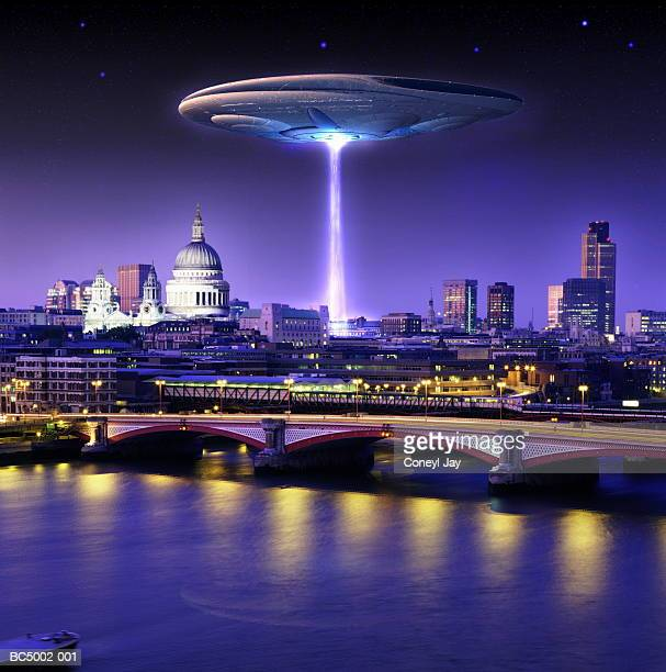 UFO hovering above London skyline, dusk (Digital Composite)