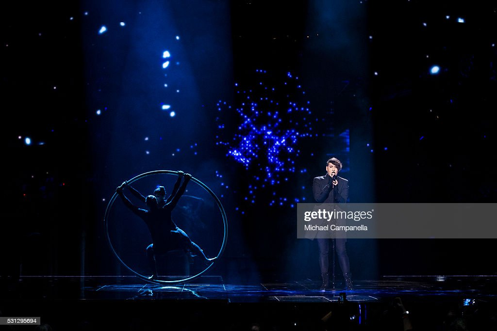 Hovi Star representing Israel performs the song 'Made Of Stars' during the final dress rehearsal of the 2016 Eurovision Song Contest at Ericsson...