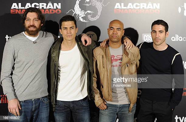 Hovik Alex Gonzalez Santiago Zannou and Miguel Angel Silvestre attend a photocall for 'Alacran Enamorado' at Princesa Cinema on April 9 2013 in...
