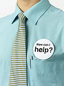 How can I help button badge on blue collar worker.