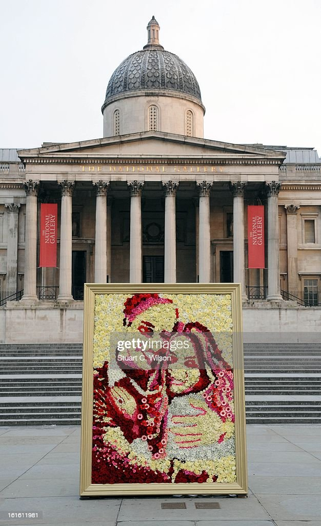 Asda joins forces with Joseph Massie to create a stunning portrait of the Duke and Duchess of Cambridge, made entirely from the supermarket's Valentine's Day flowers at Trafalgar Square on February 13, 2013 in London, England.