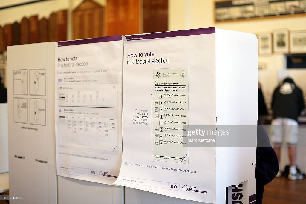 How to Vote information is displayed at Bondi Surf Bathers' Life Saving Club in the electorate of Wentworth on July 2, 2016 in Sydney, Australia. Voters head to the polls today to elect the 45th parliament of Australia.