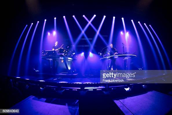 Howard and Guy Lawrence of the British band Disclosure perform live during a concert at the Arena on February 12 2016 in Berlin Germany