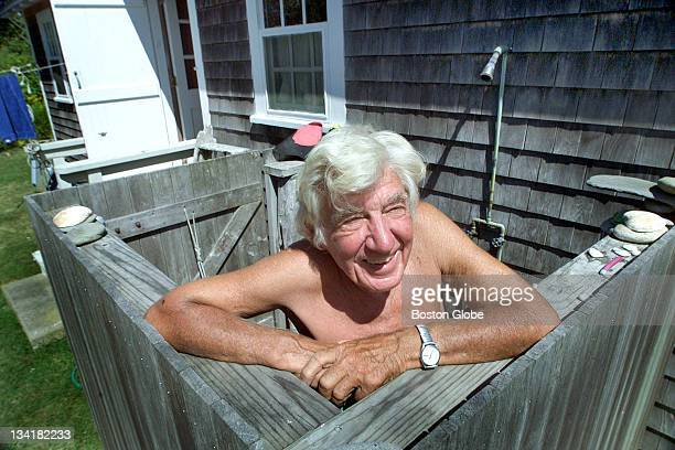 Howard Coe in his outdoor shower at his Vineyard cabin The 88yearold lives on Martha's Vineyard from spring through fall