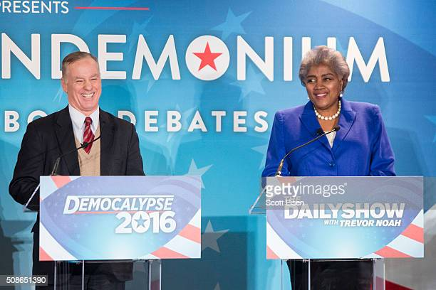 Howard Dean former Governor of Vermont 2004 Democratic presidential candidate and former DNC chairman and Donna Brazile Vice Chairowman of the...