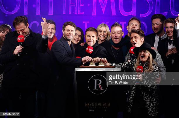 Howard Donald Gary Barlow and Mark Owen of Take That are joined by Jamie Theakston Jenni Falconer Toby Anstis Jason Donovan and Emma Bunton attend as...