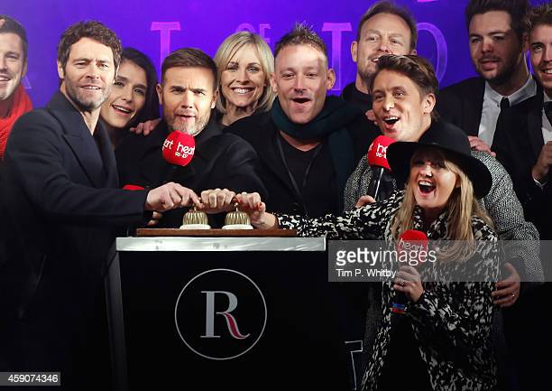 Howard Donald Gary Barlow and Mark Owen of Take That are joined by Jenni Falconer Toby Anstis Jason Donovan and Emma Bunton of Heart FM as the Regent...