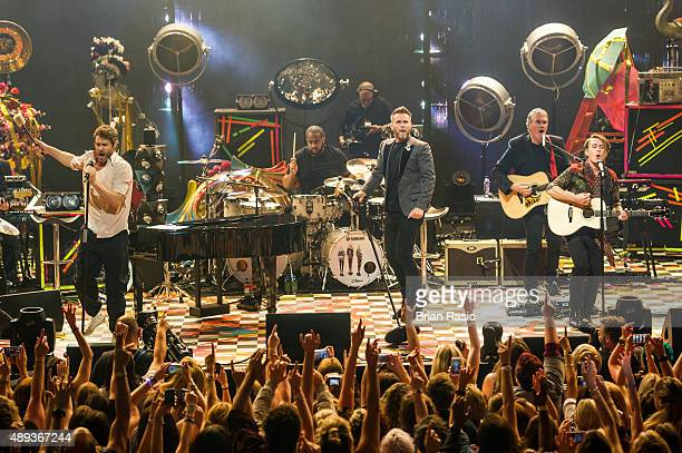 Howard Donald Gary Barlow and Mark Owen of Take That perform during the 2015 Apple Music Festival at The Roundhouse on September 20 2015 in London...