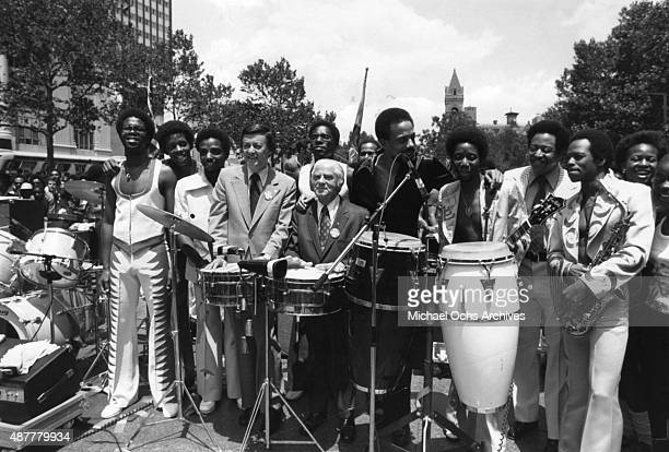 Howard Golden Brooklyn's Borough President presents the town's native sons Funk disco group 'BT Express' with their own 'Day' at a jam packed noon...