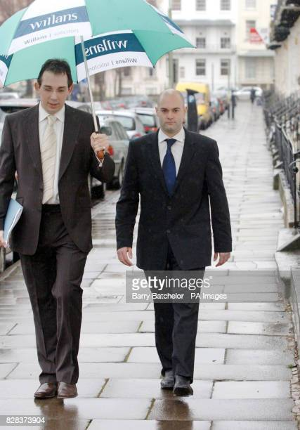 Howard Johnston with James Grigg from Willans Solicitors in Cheltenham Tuesday March 7 after Briton Natallie Evans lost her European Court Human...