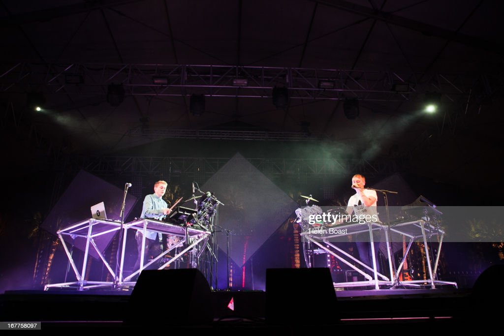 Howard Lawrence and Guy Lawrence of Disclosure perform on stage at 2013 Coachella Music Festival on April 21, 2013 in Indio, California.