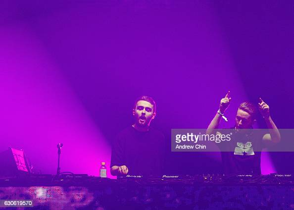 Howard Lawrence and Guy Lawrence of English electronic duo Disclosure perform on stage during day 2 of Contact Winter Music Festival 2016 at BC Place...
