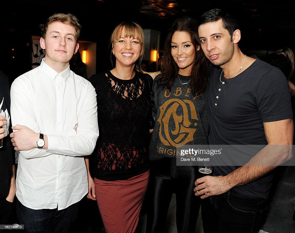 Howard Lawrence, Sara Cox, Erin McNaught and Example attend as Nick Grimshaw hosts his first annual award season dinner at Hix, in association with Philips Sound, on February 19, 2013 in London, England.