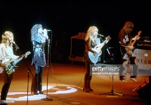 Howard Leese Ann Wilson Nancy Wilson and Roger Fisher of the rock band 'Heart' perform onstage in circa 1977