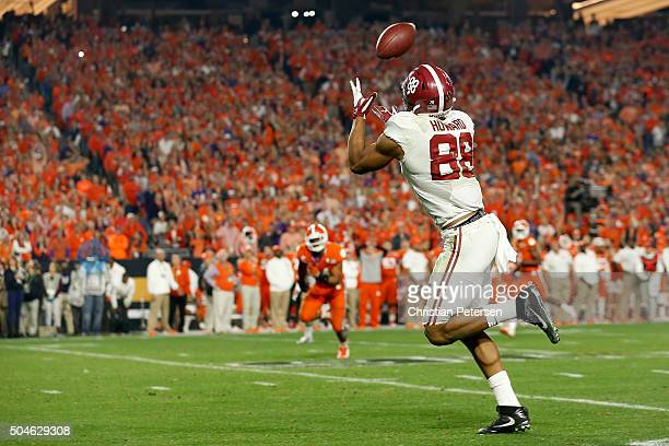J Howard of the Alabama Crimson Tide scores a 53 yards touchdown in the third quarter against the Clemson Tigers during the 2016 College Football...