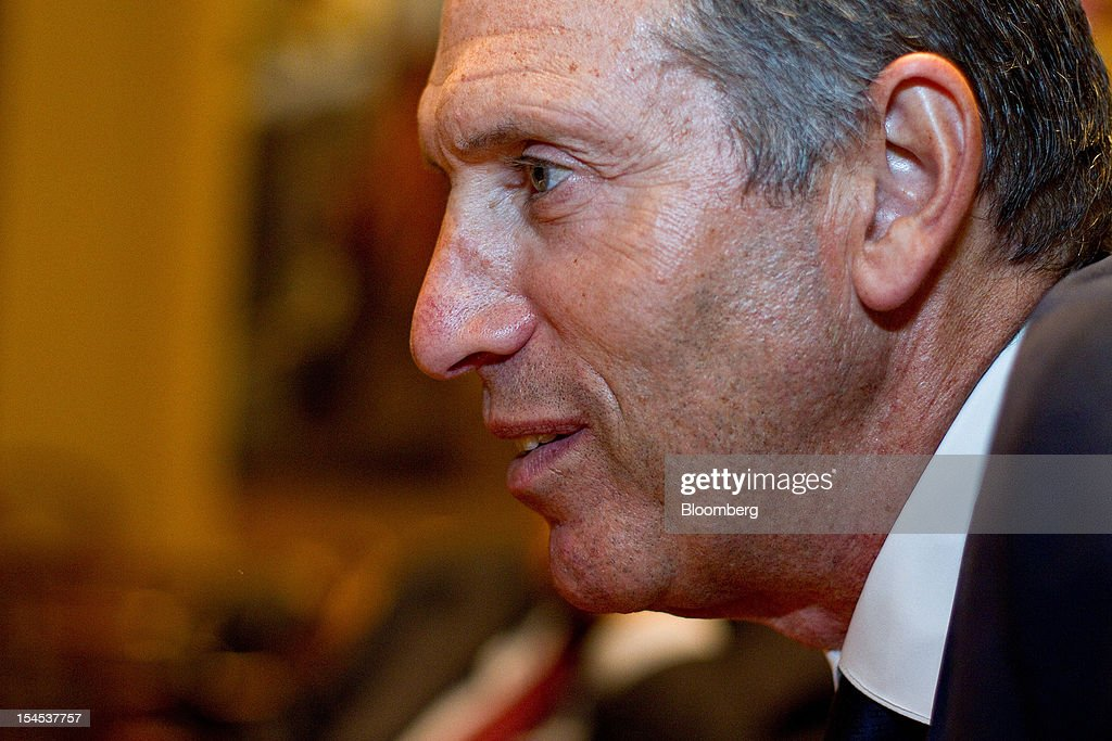 <a gi-track='captionPersonalityLinkClicked' href=/galleries/search?phrase=Howard+Schultz&family=editorial&specificpeople=595766 ng-click='$event.stopPropagation()'>Howard Schultz</a>, chief executive officer of Starbucks Corp., speaks during an interview at the opening of the company's first India outlet in Mumbai, India, on Friday, Oct. 19, 2012. Starbucks, which opened its first store in India today, will maintain its partnership with Tata Global Beverages Ltd. and plans to take some of that company's products to new markets, Schultz said. Photographer: Dhiraj Singh/Bloomberg via Getty Images