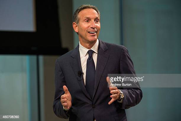 Howard Schultz president and CEO of Starbucks speaks at a press conference announcing that Starbucks will partner with Arizona State University to...