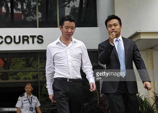 Howard Shaw a member of a prominent Singaporean family is photographed on April 18 2012 leaving a courthouse where he was formally charged with...