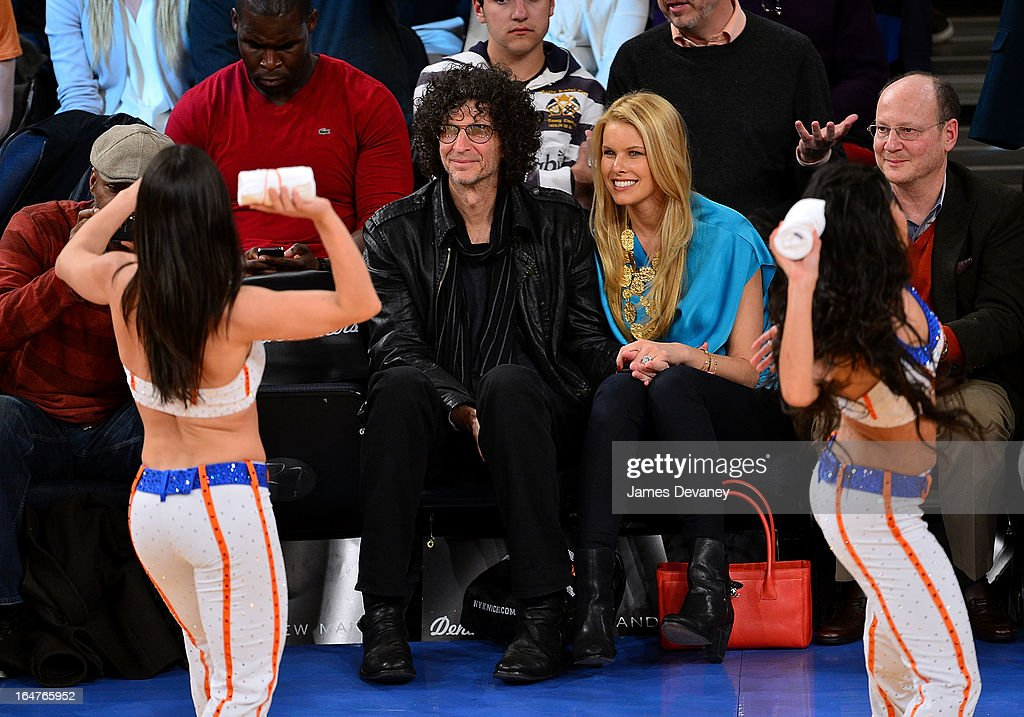 Howard Stern and Beth Ostrosky Stern attend the Memphis Grizzlies vs New York Knicks game at Madison Square Garden on March 27, 2013 in New York City.