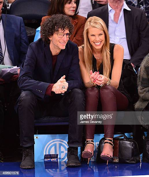 Howard Stern and Beth Ostrosky Stern attend the Orlando Magic vs New York Knicks game at Madison Square Garden on November 12 2014 in New York City