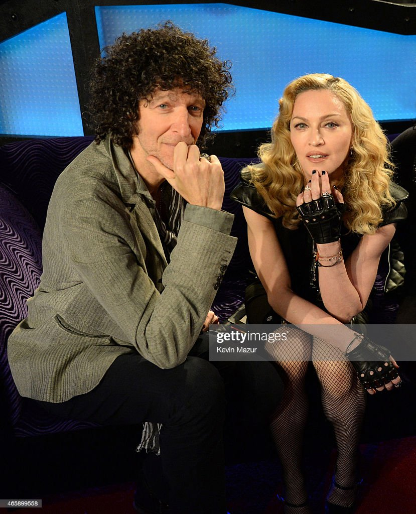 Howard Stern and Madonna pose in the studio after Madonna Live On The Howard Stern Show On Howard Stern's Exclusive SiriusXM Channel Howard 100 at...