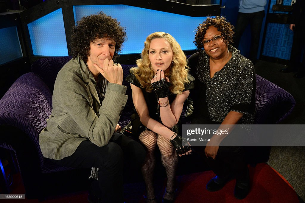 Howard Stern Madonna and Robin Quivers pose in the studio after Madonna Live On The Howard Stern Show On Howard Stern's Exclusive SiriusXM Channel...
