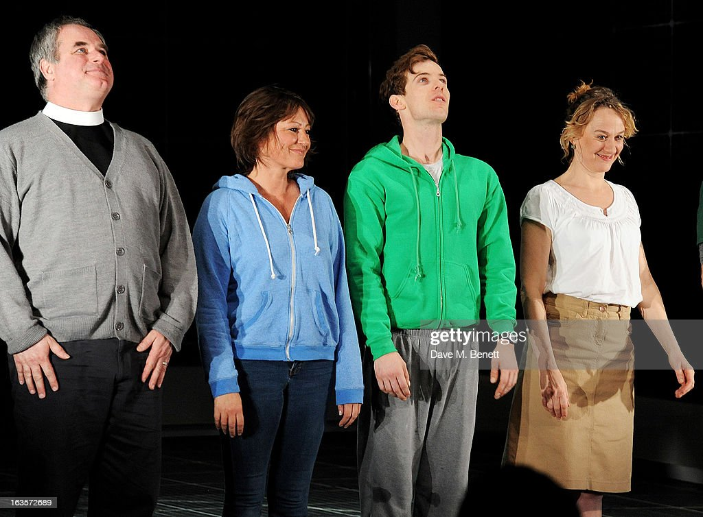 Howard Ward, Holly Aird, Luke Treadaway and Niamh Cusack bow at the curtain call during the press night performance of 'The Curious Incident of the Dog in the Night-Time' at The Apollo Theatre on March 12, 2013 in London, England.
