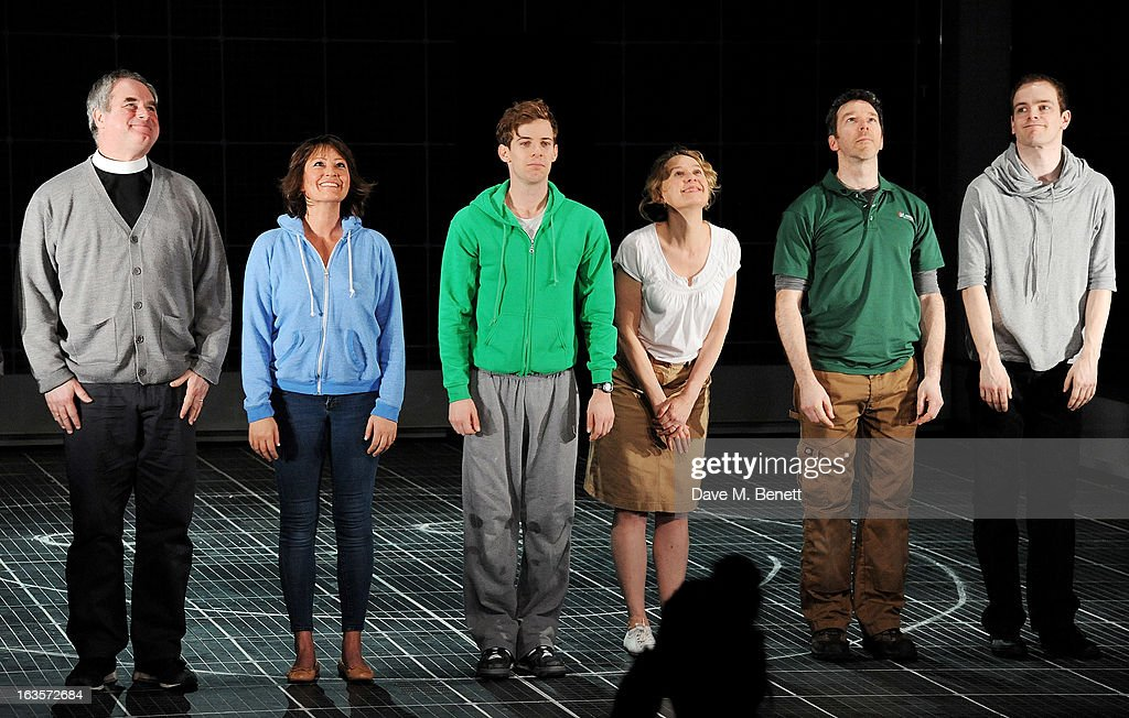 Howard Ward, Holly Aird, Luke Treadaway, Niamh Cusack, Sean Gleeson and Johnny Gibbon bow at the curtain call during the press night performance of 'The Curious Incident of the Dog in the Night-Time' at The Apollo Theatre on March 12, 2013 in London, England.