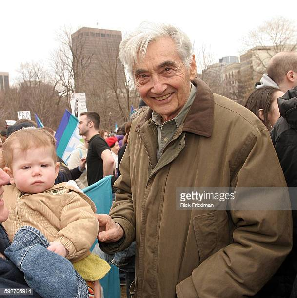 Howard Zinn worldrenowned historian teacher author and playwright at the Anti War Rally on Boston Common attended by about 3000 people marking the...