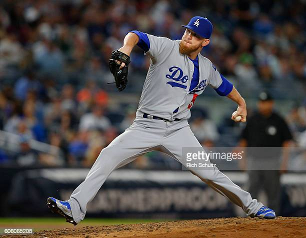 P Howell of the Los Angeles Dodgers in action against the New York Yankees during a game at Yankee Stadium on September 13 2016 in New York City