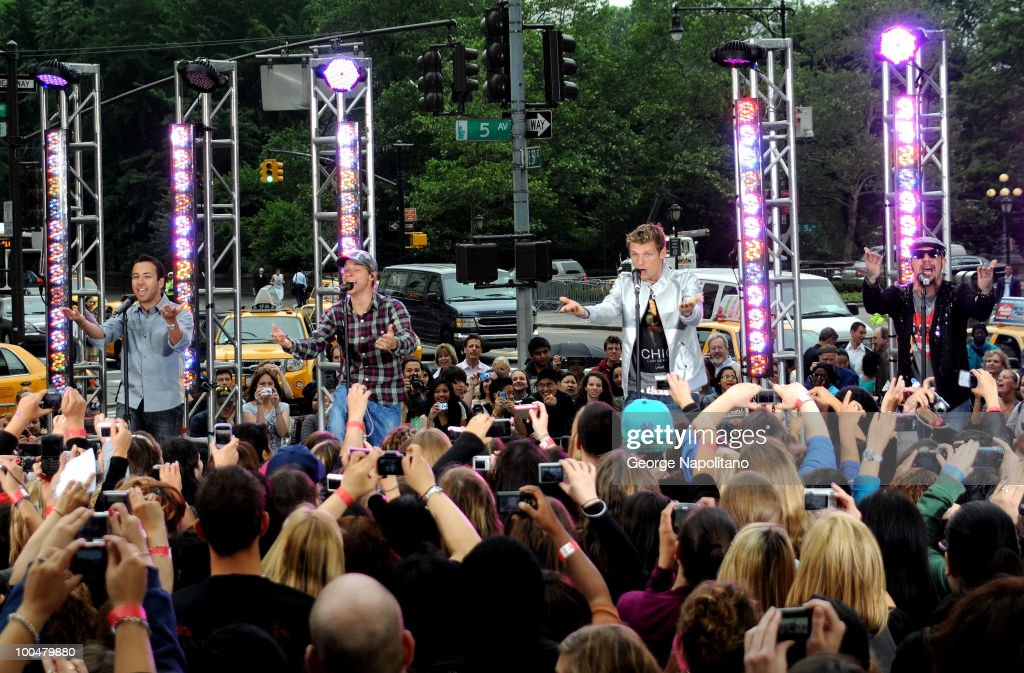 Howie Dorough, Brian Littrell, Nick Carter and A. J. McLean of the Backstreet Boys perform on CBS' The Early Show Summer Concert Series at the CBS Early Show Studio Plaza on May 24, 2010 in New York City.