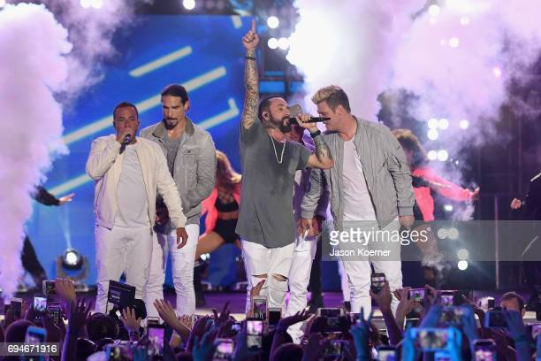 Howie Dorough Kevin Richardson AJ McLean and Nick Carter from Back Street Boys perform on stage during iHeartSummer '17 Weekend hosted by ATT at...