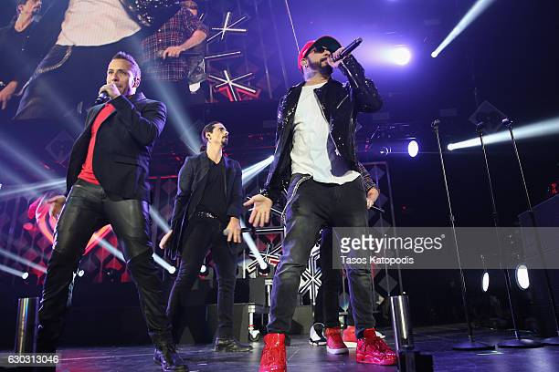 Howie Dorough Kevin Richardson and A J McLean of Backstreet Boys perform onstage during 1035 KISS FM's Jingle Ball 2016 at Allstate Arena on December...