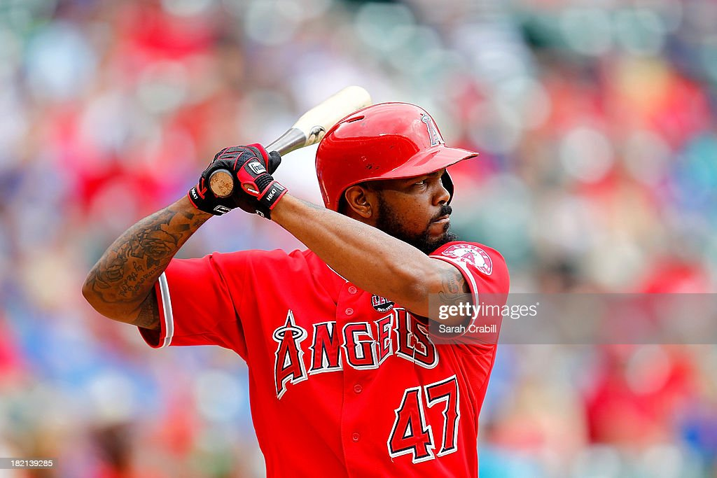 <a gi-track='captionPersonalityLinkClicked' href=/galleries/search?phrase=Howie+Kendrick&family=editorial&specificpeople=628938 ng-click='$event.stopPropagation()'>Howie Kendrick</a> #47 of the Los Angeles Angels of Anaheim bats during a game against the Texas Rangers at Rangers Ballpark in Arlington on September 28, 2013 in Arlington, Texas. The Texas Rangers defeated the Los Angeles Angels of Anaheim 7-4.