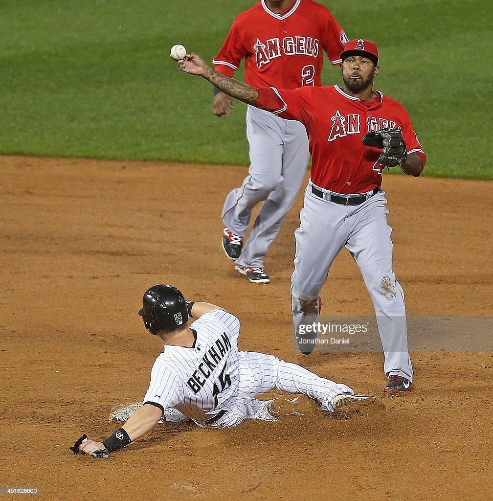 Howie Kendrick #47 of the Los Angeles Angels of Anaheim turns a double play to end the 6th inning as Gordan Beckham #15 of the Chicago White Sox slides in at U.S. Cellular Field on July 2, 2014 in Chicago, Illinois. The White Sox defeated the Angels 3-2.