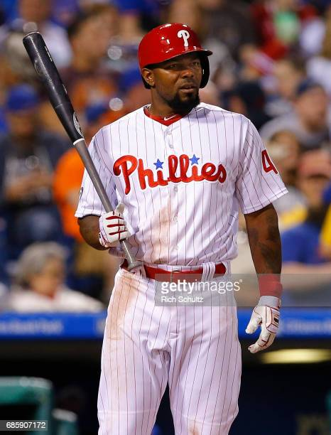 Howie Kendrick of the Philadelphia Phillies in action against the New York Mets during a game at Citizens Bank Park on April 10 2017 in Philadelphia...