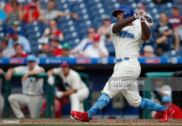 Howie Kendrick of the Philadelphia Phillies in action against the Arizona Diamondbacks during a game at Citizens Bank Park on June 18 2017 in...